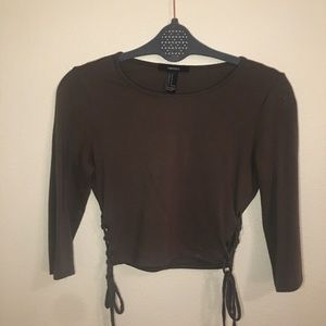 Olive side lace crop top
